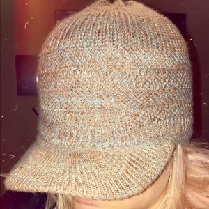 Brown and Blue Knitted Hat